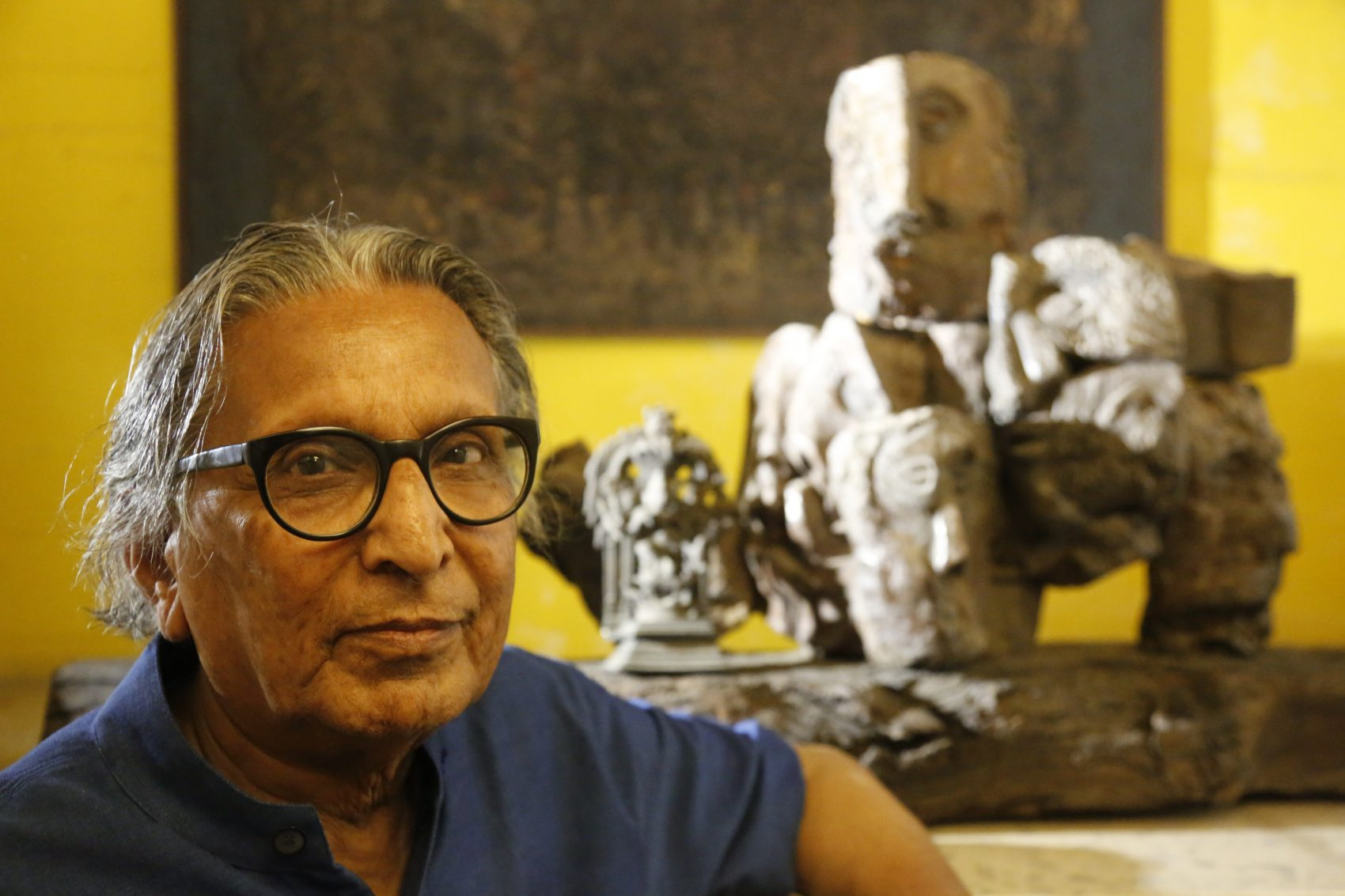 India's Balkrishna Doshi who won the 2018 Pritzker Architecture Prize poses for the Associated Press at his home in Ahmadabad, India, Wednesday, March 7, 2018. He is the first from India to win architecture's highest honor in the prize's 40-year history. The award was announced Wednesday by Tom Pritzker of the Chicago-based Hyatt Foundation. (Ajit Solanki/AP)