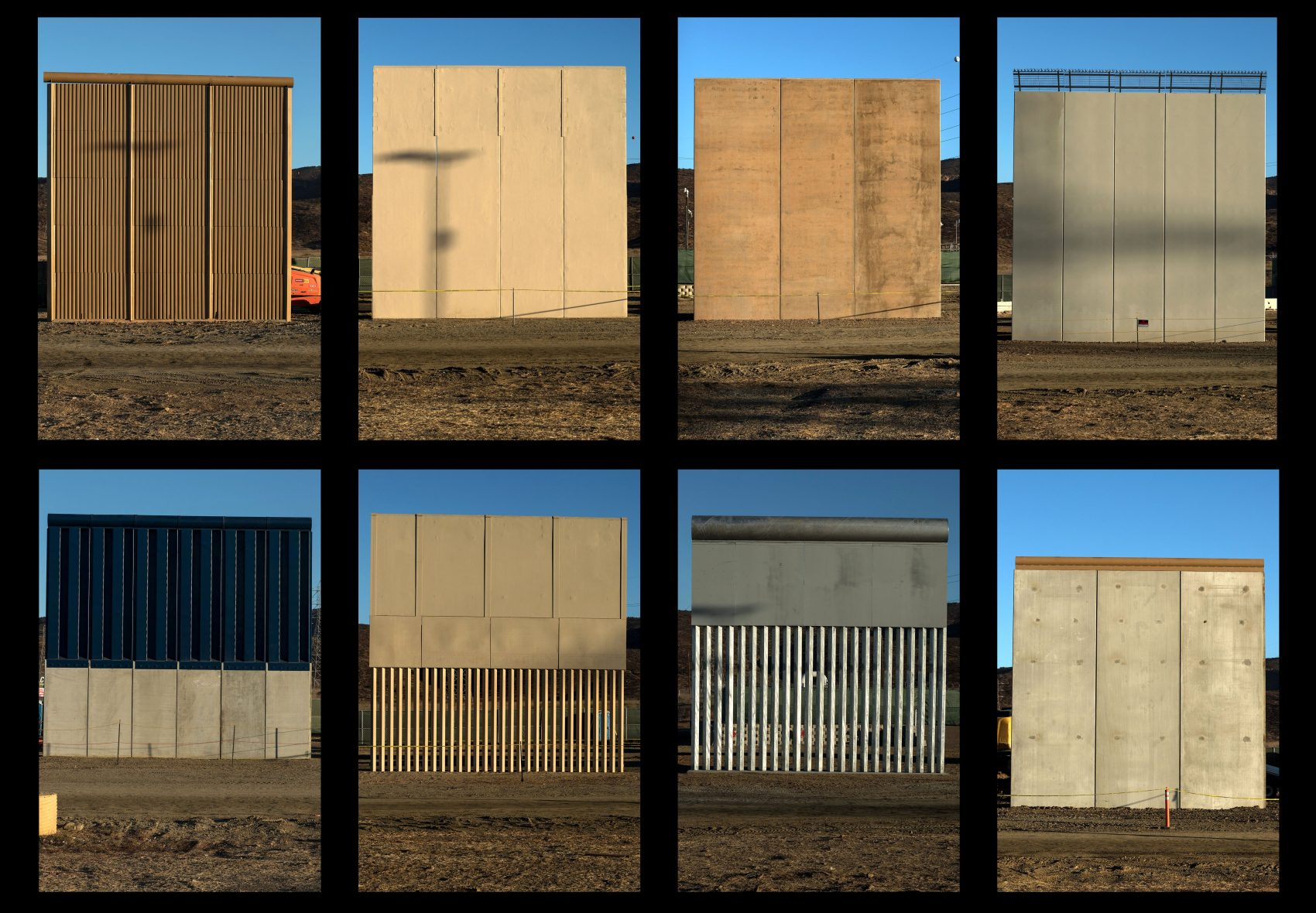 This combination of pictures shows the eight prototypes of President Trump's U.S.-Mexico border wall being built near San Diego, in the U.S., seen from across the border from Tijuana, Mexico, on Oct. 22, 2017. (Guillermo Arias/AFP/Getty Images)