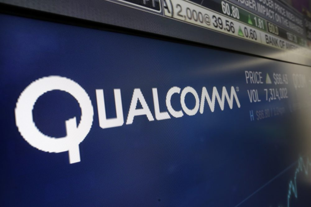 The logo for Qualcomm appears on a screen at the Nasdaq MarketSite, in New York, Wednesday, Feb. 14, 2018. (Richard Drew/AP)