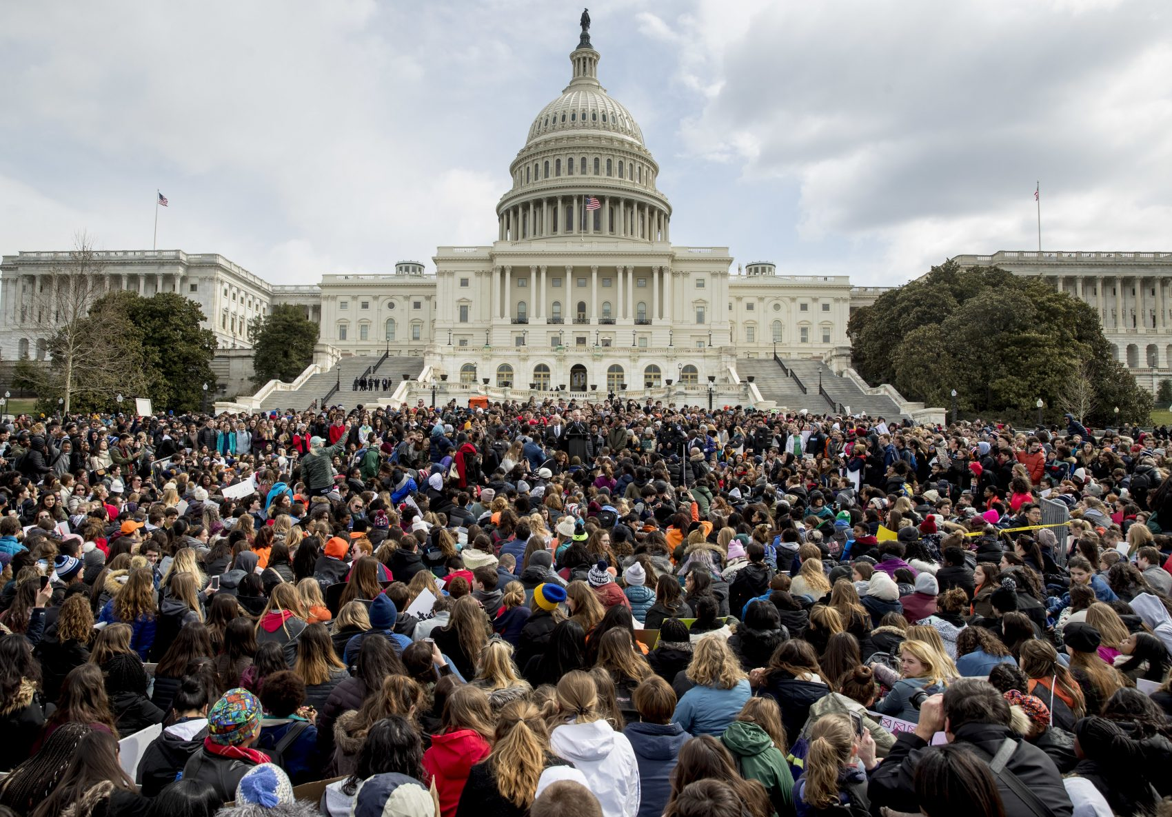 Students rally outside the Capitol Building in Washington. (Andrew Harnik/AP)