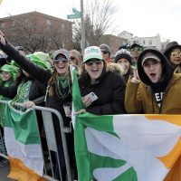 Spectators cheer as they watch the annual St. Patrick's Day Parade in Boston in 2016. (Steven Senne/AP)