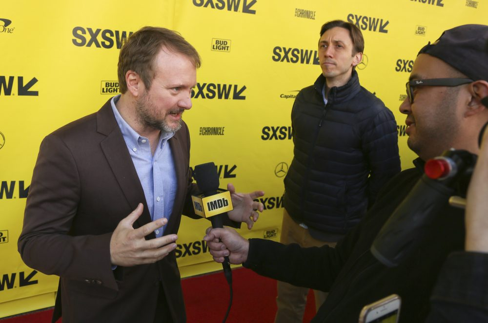 "Rian Johnson arrives for the world premiere of ""The Director and The Jedi"" during the South by Southwest Film Festival at the Paramount Theatre on Monday, March 12, 2018, in Austin, Texas. (Jack Plunkett/Invision/AP)"