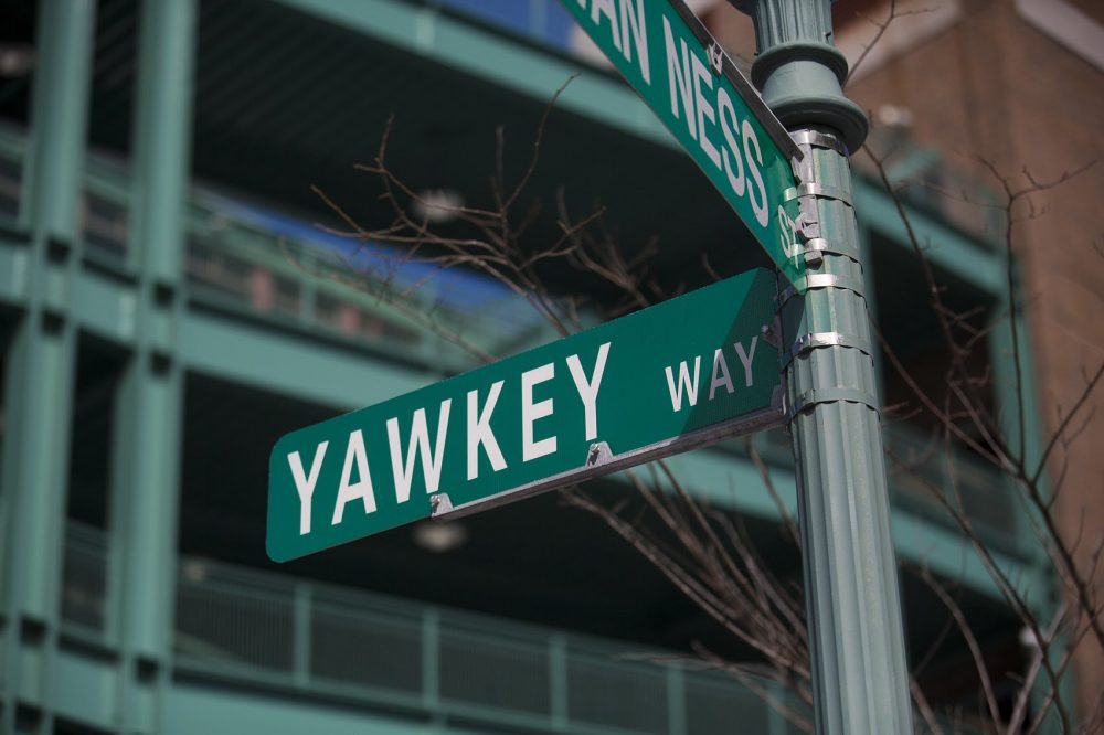 Yawkey Way street sign on the corner of Van Ness Street (Jesse Costa/WBUR)