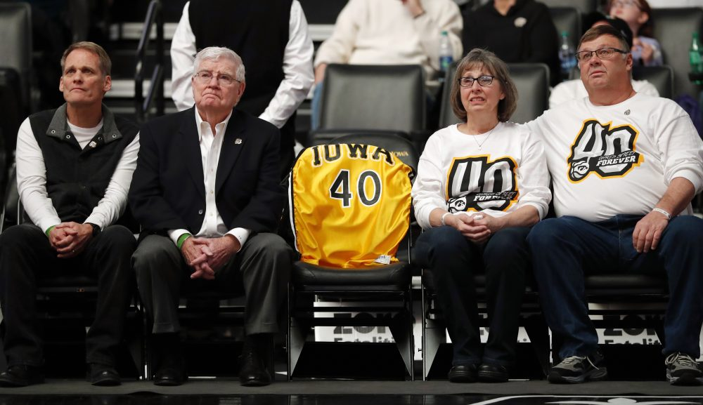 Patty and Mike Street, pictured here on the right at an Iowa-Purdue game in January, are the parents of Chris Street, whose school free throw record still stands. (Charlie Neibergall/AP)