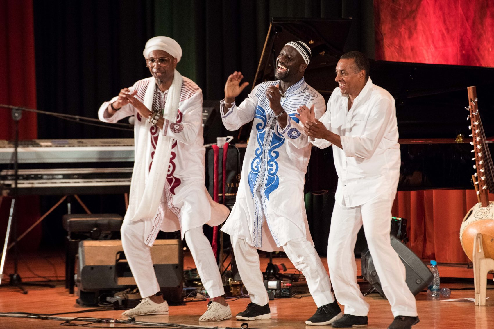 Omar Sosa, Seckou Keita and Gustavo Ovalles. (Courtesy Jon Razinger/World Music/CRASHarts)