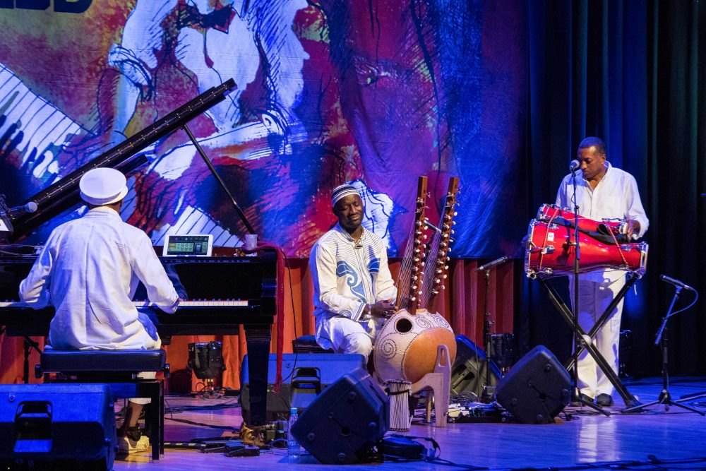 Omar Sosa on piano, Seckou Keita on kora and Gustavo Ovalles on percussion. (Courtesy Jon Razinger/World Music/CRASHarts)