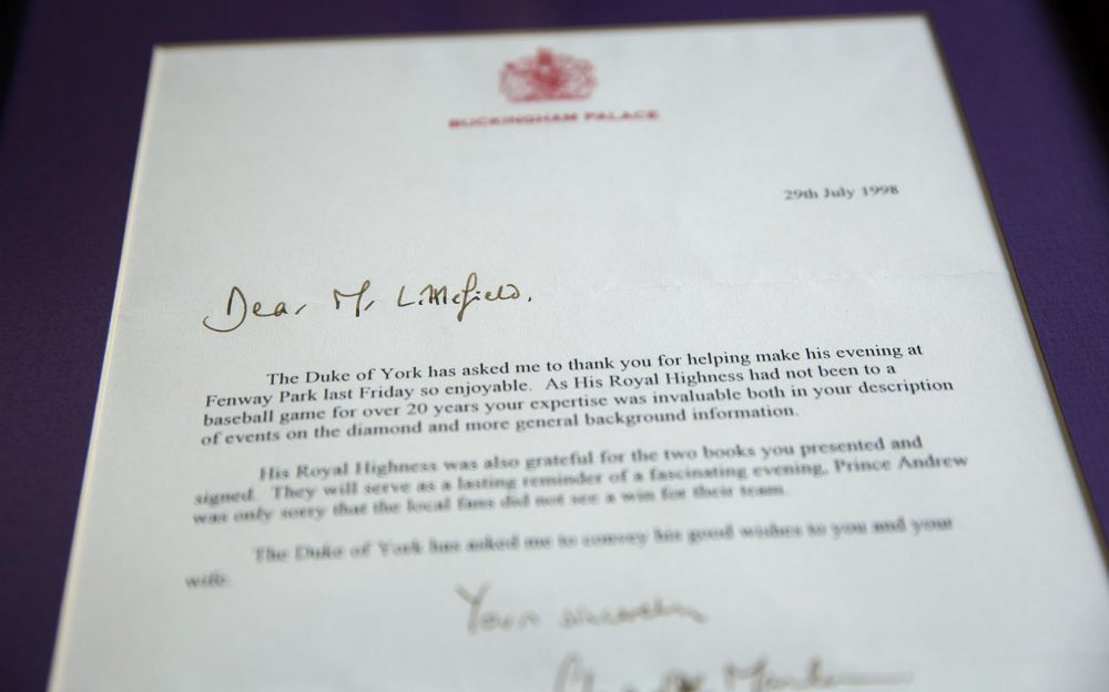 A letter from Buckingham Palace to Only A Game host, Bill Littlefield. (Robin Lubbock/WBUR)