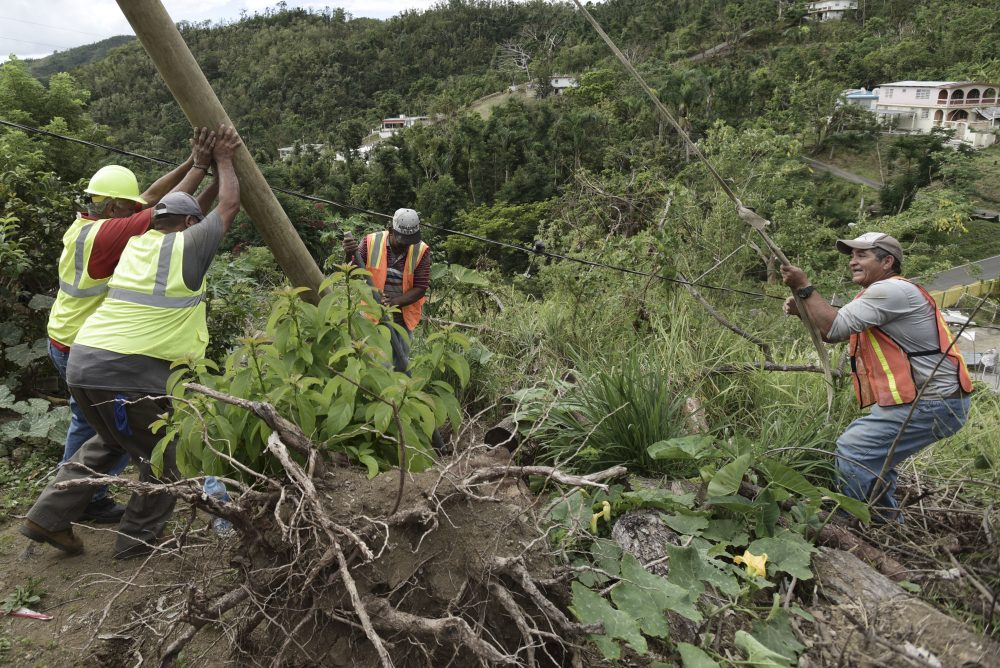 In this Jan. 31, 2018 photo, Public Works Sub-Director Ramon Mendez, wearing a hard hat at left, works with locals who are municipal workers, from right, Eliezer Nazario, Tomas Martinez and Angel Diaz as they install a new post to return electricity to Felipe Rodriguez's home, four months after Hurricane Maria hit the El Ortiz sector of Coamo, Puerto Rico. Coamo's city government relies on residents to tell it where damaged cables and posts are located, and uses hand-drawn maps to show homes that have power or need it, and the city updates the power company. (Carlos Giusti/AP)