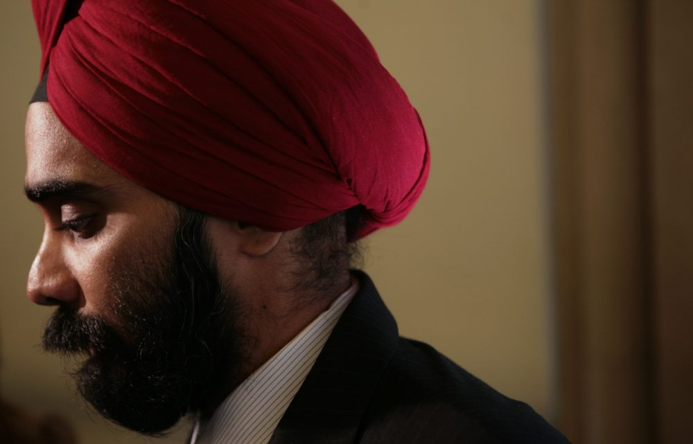Amardeep Singh, former executive director of the Sikh Coalition, listens during an interview after a press conference announcing regulation to prevent bias-based harassment and bullying in schools, in New York, Wednesday Sept. 3, 2008. The Sikh Coalition led early efforts to create the regulation following bias attacks against Sikh students in city schools in May 2007. (Bebeto Matthews/AP)