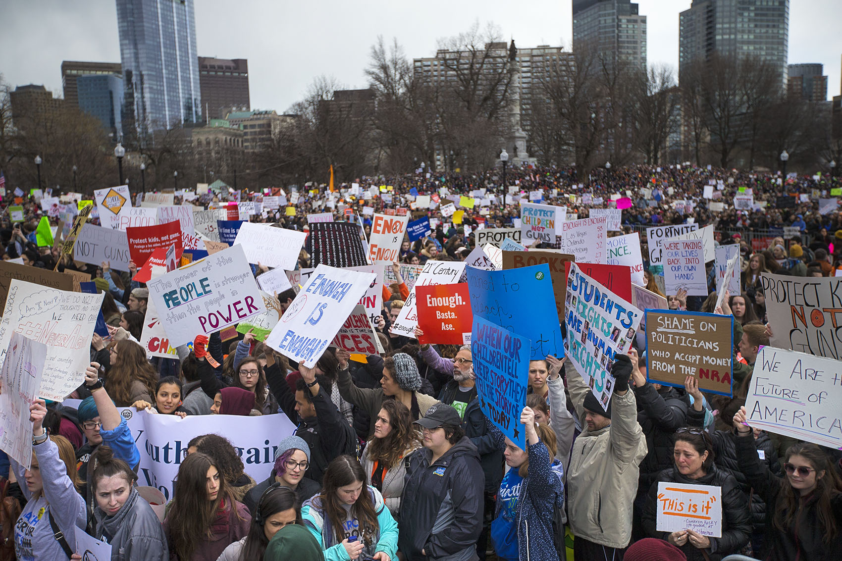 Thousands flooded the Boston Common for the March For Our Lives Rally. (Jesse Costa/WBUR)
