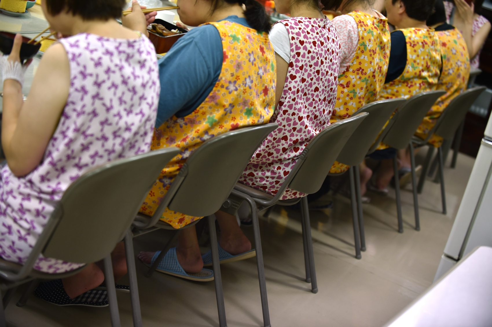 This picture taken on July 24, 2015 shows women having a meal together at a rehabilitation facility to support reintegration for former prisoners in Tokyo. For Japan's increasing cohort of elderly prison inmates, the prospect of a life of freedom upon release is fraught with unease. (Kazuhiro Nogi/AFP/Getty Images)