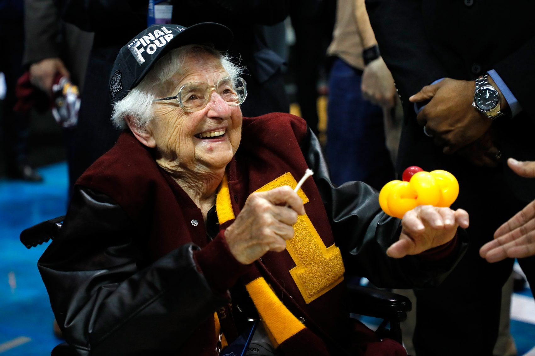 Sister Jean Dolores Schmidt celebrates with the Loyola Ramblers after defeating the Kansas State Wildcats during the 2018 NCAA men's basketball tournament at Philips Arena on March 24, 2018 in Atlanta. (Kevin C. Cox/Getty Images)