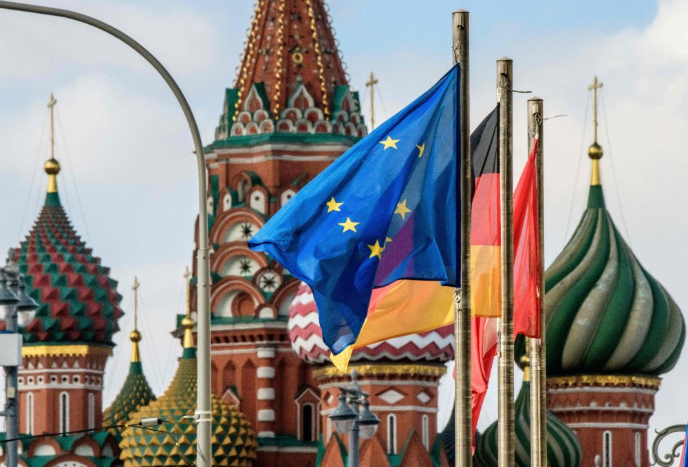 The European Union flag flies among others in front of St. Basil's Cathedral in Moscow on March 29, 2018. At least 25 countries have ordered out more than 120 Russia diplomats in response to the March 4 attack on former Russian spy Sergei Skripal and his daughter in the English city of Salisbury. (Mladen Antonov/AFP/Getty Images)
