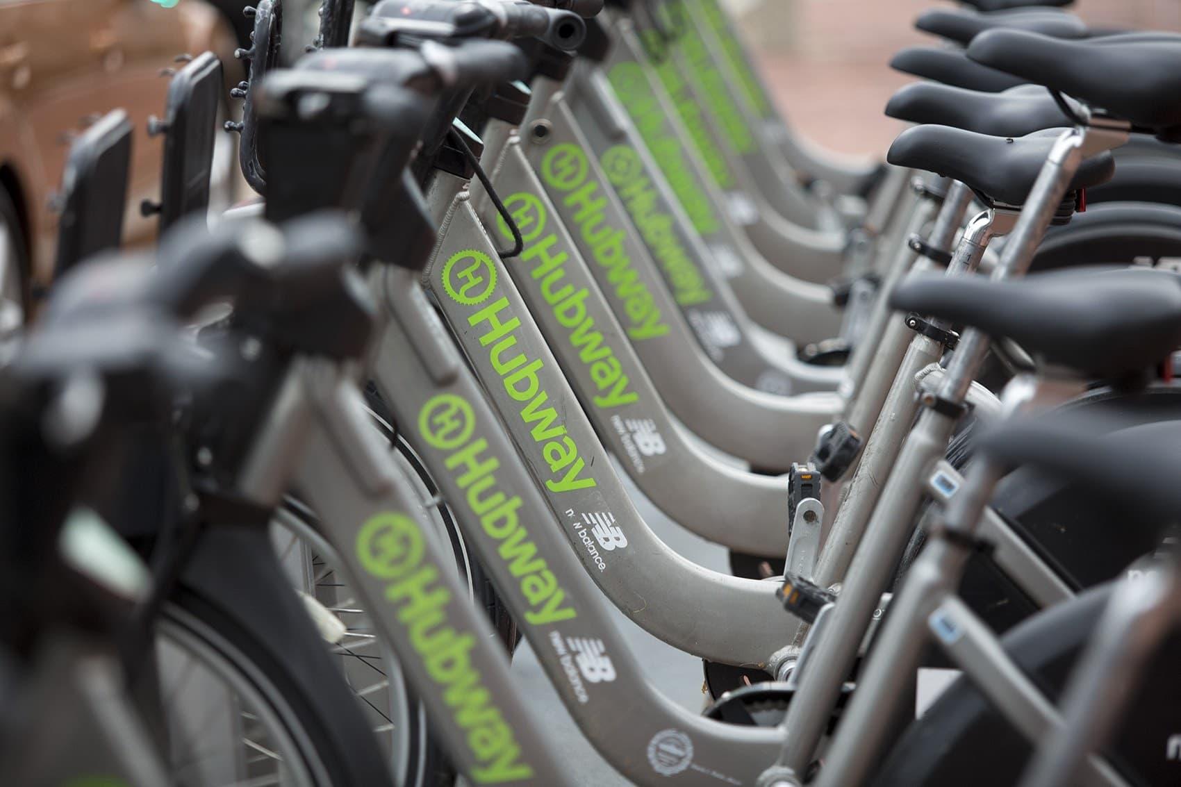 Hubway bicycles (Jesse Costa/WBUR)