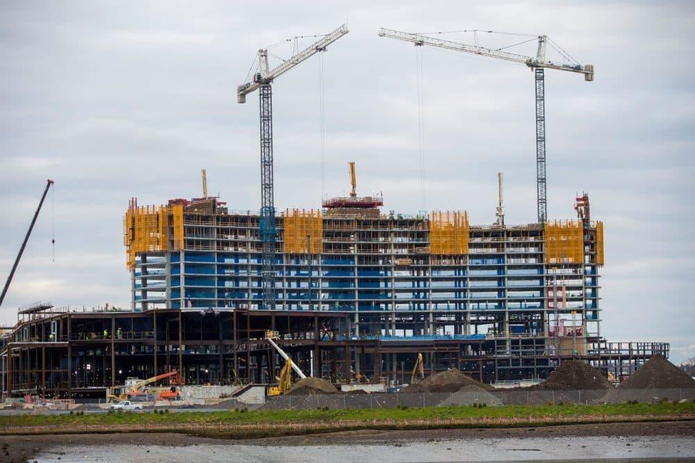 The under-construction Wynn casino in Everett is seen in November 2017. (Jesse Costa/WBUR)