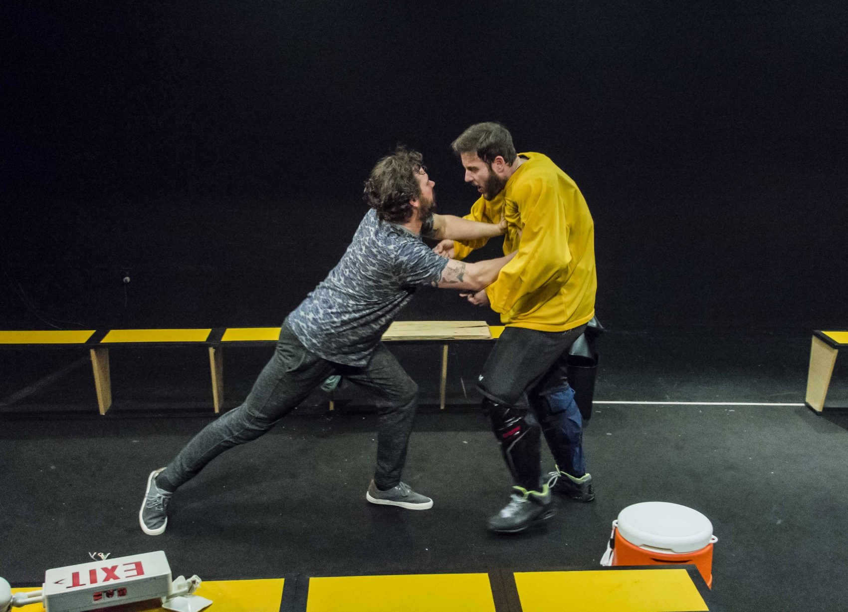 "Anthony Goes as Odie and Greg Maraio as Adam in ""Brawler."" (Courtesy Kalman Zabarsky/Boston Playwrights' Theatre)"