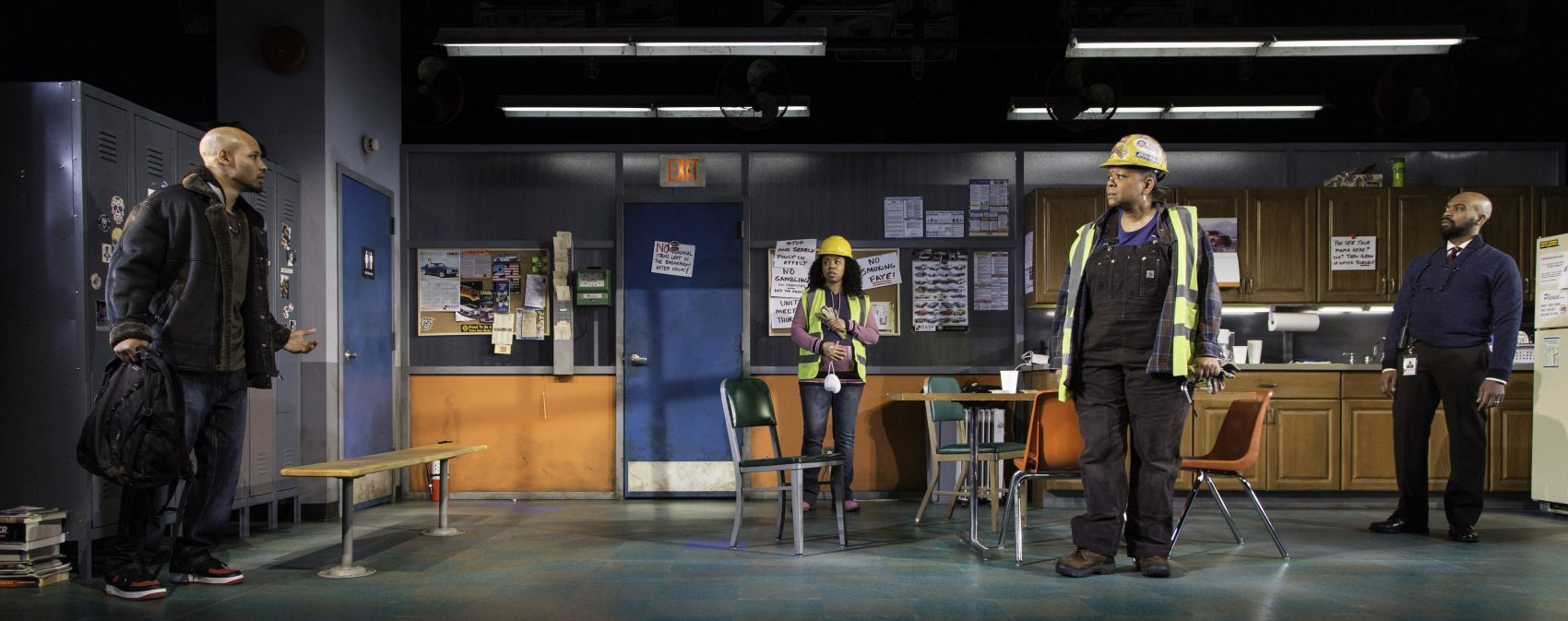 "Jonathan Louis Dent, Toccarra Cash, Patricia R. Floyd and Maurice E. Parent in ""Skeleton Crew."" (Courtesy T. Charles Erickson/Huntington Theatre Company)"