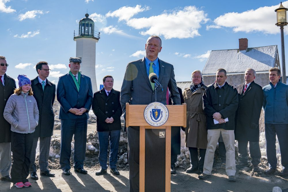 Baker announces his climate bond bill Thursday in Scituate. (Courtesy Rachel Mandelbaum for the Office of the Governor)