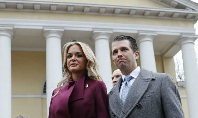 Vanessa Trump and Donald Trump Jr. walk out together after attending church service at St. John's Episcopal Church across from the White House in Washington. (Pablo Martinez Monsivais/AP)