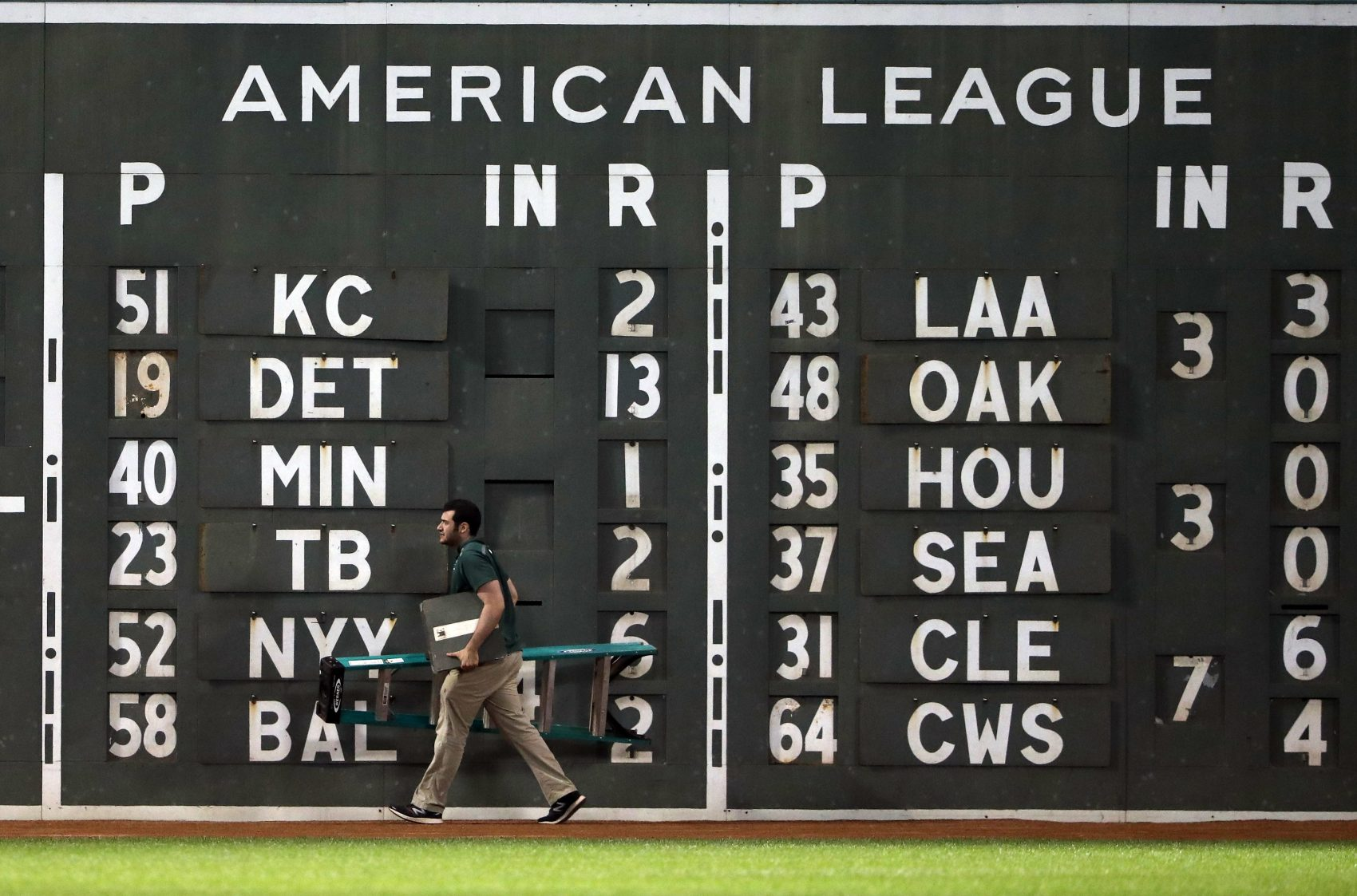 Tom and Jean Yawkey's initials depicted in Morse code line the white stripes separating the American League scores on the Green Monster at Fenway Park. (Winslow Townson/AP)