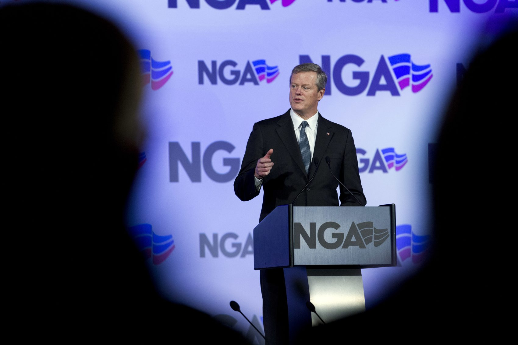 Two-thirds of Massachusetts voters view Gov. Charlie Baker favorably, per a new WBUR poll. (Jose Luis Magana/AP)