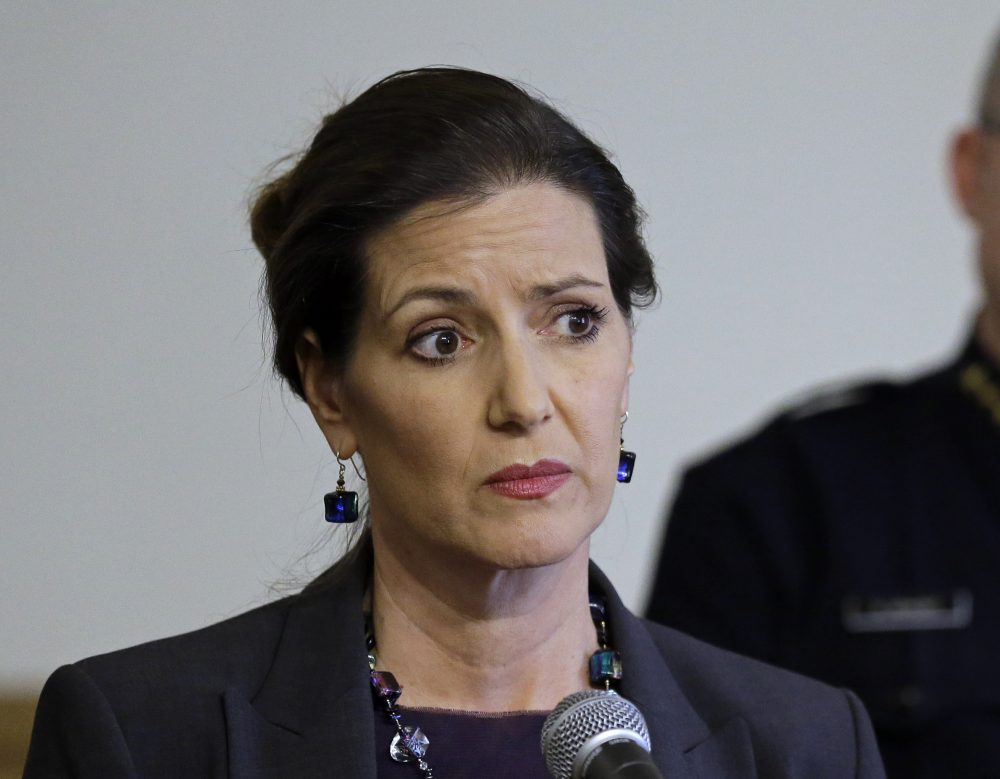 In this May 13, 2016 file photo, Oakland Mayor Libby Schaaf, speaks at a news conference in Oakland, Calif. A federal immigration official says about 800 people living in Northern California were able to avoid arrest because of a warning by Schaaf. (Ben Margot/AP)