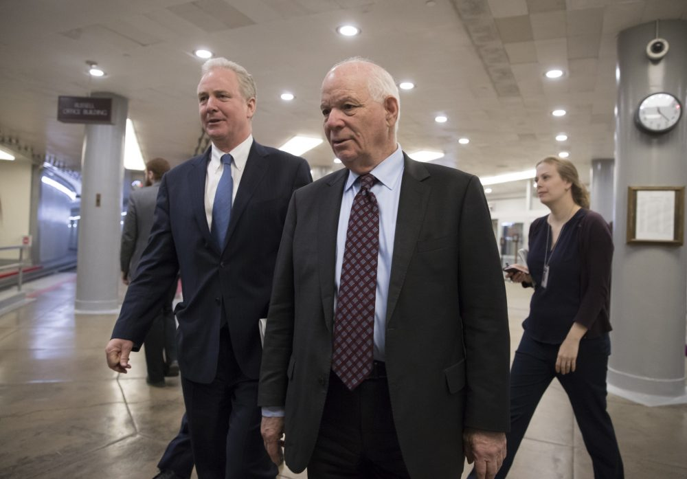 Sen. Chris Van Hollen, D-Md., left, and Sen. Ben Cardin, D-Md., arrive for a procedural vote as the Senate moves to pass legislation that would roll back some of the safeguards Congress put into place after a financial crisis rocked the nation's economy ten years ago, at the Capitol in Washington, Tuesday, March 6, 2018. (J. Scott Applewhite/AP)