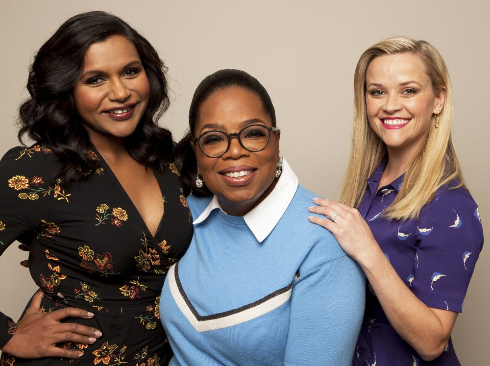 """In this Feb. 25, 2018 photo, actors Mindy Kaling from left, Oprah Winfrey and Reese Witherspoon pose for a portrait at The W Hotel in Los Angeles to promote their film, """"A Wrinkle in Time"""" . (Photo by Rebecca Cabage/Invision/AP)"""