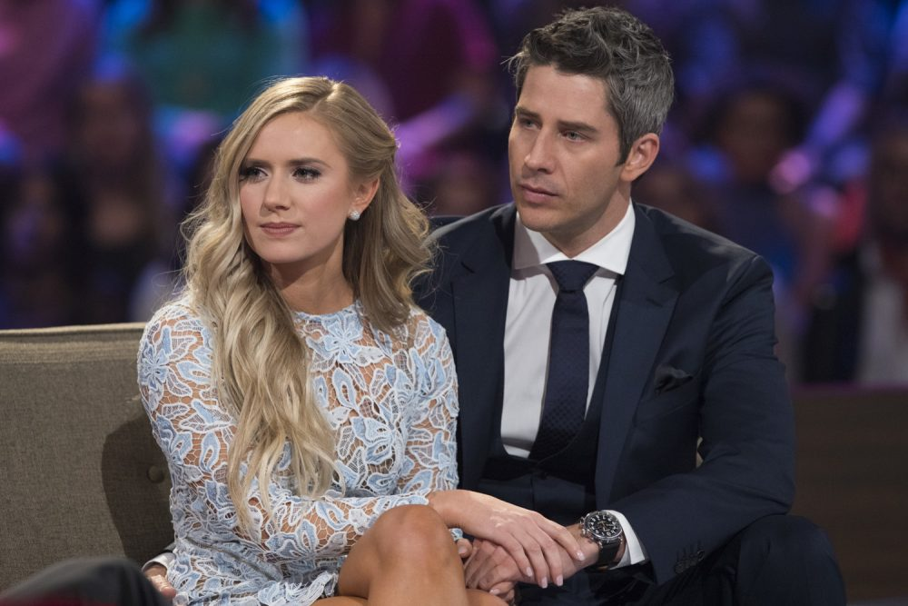 "This image released by ABC shows Lauren Burnham, left, and Arie Luyendyk Jr. on ""The Bachelor: After the Final Rose."" Luyendyk  says he's willing to take the heat for dumping Becca Kufrin to find true love with runner-up Lauren Burnham. His decision to break up with Kufrin during Monday's season finale after they'd become engaged prompted such descriptive headlines as ""horror,"" ""brutal"" and ""gut-wrenching,"" (Paul Hebert/ABC via AP)"