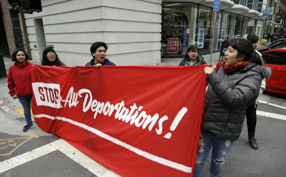 Demonstrators stage outside of the Immigration and Customs Enforcement offices Wednesday, Feb. 28, 2018, in San Francisco. A top immigration official said Wednesday that about 800 people living illegally in Northern California were able to avoid arrest because of a weekend warning that Oakland Mayor Libby Schaaf put on Twitter.(Marcio Jose Sanchez/AP)