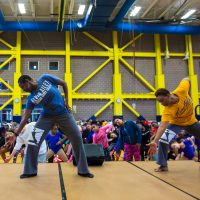 """Alvin Ailey American Dance Theater master teachers Nasha Thomas and Cheryl Rowley-Gaskins lead a free community workshop at Dorchester's Salvation Army Kroc Center in dancing selections from Ailey's masterpiece """"Revelations."""" (Courtesy Robert Torres/Celebrity Series)"""
