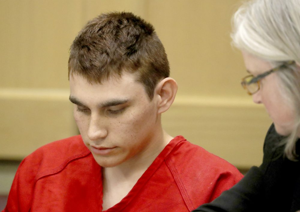 Nikolas Cruz appears in court for a status hearing before Broward Circuit Judge Elizabeth Scherer,  Cruz is facing 17 charges of premeditated murder in the mass shooting at Marjory Stoneman Douglas High School in Parkland. (Mike Stocker/South Florida Sun-Sentinel via AP)
