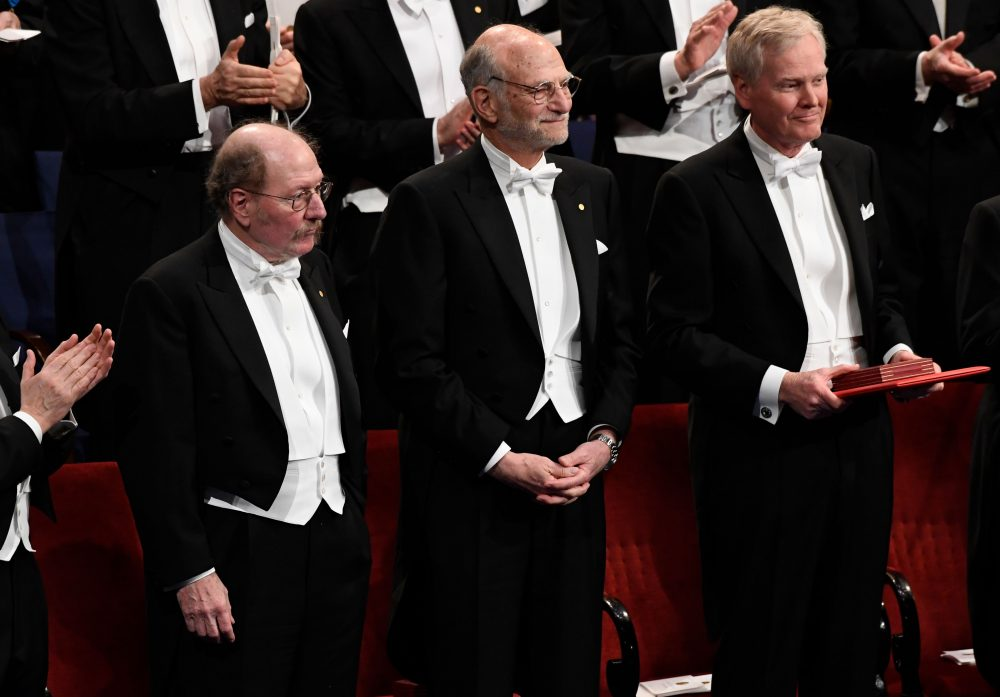 Jeffrey C Hall, Michael Rosbash and Michael W Young (L-R) were awarded the Nobel 2017 Nobel Prize in Physiology or Medicine. (Jonathan Nackstrand/AFP/Getty Images)