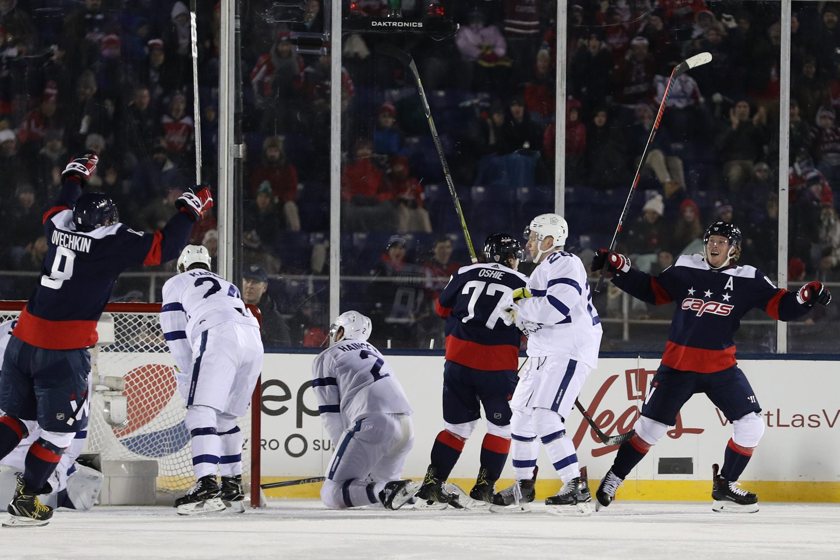 The Capitals beat the Maple Leafs 5-2 on Saturday at Navy-Marine Corps Memorial Stadium. (Patrick Smith/Getty Images)
