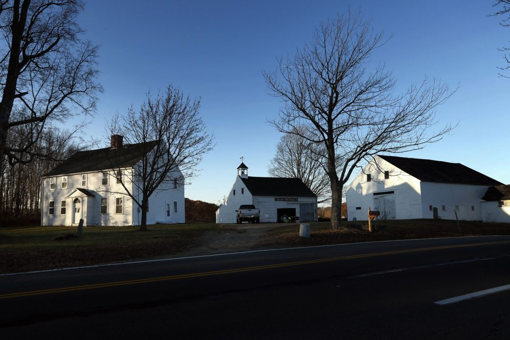 In this Wednesday, Nov. 15, 2017 photo the 300-year-old Adams homestead sits in Newington, N.H. The home of eight generations related to President John Adams has been named to the New Hampshire State Register of Historic Places. (AP Photo/Robert F. Bukaty)