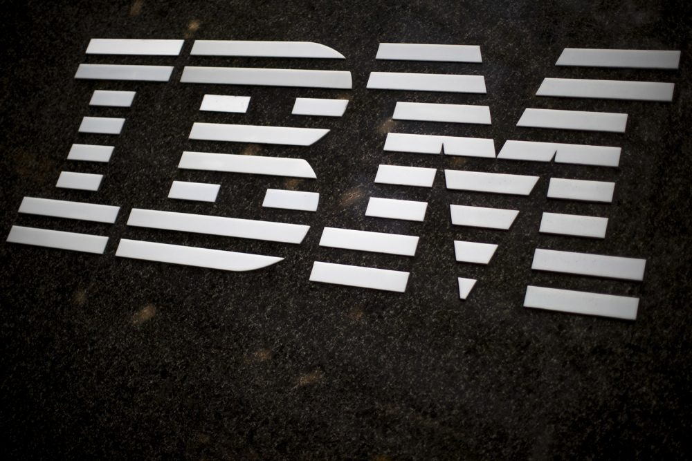 FILE - In this April 26, 2017, file photo, the IBM logo is displayed on the IBM building in Midtown Manhattan, in New York. (AP Photo/Mary Altaffer, File)