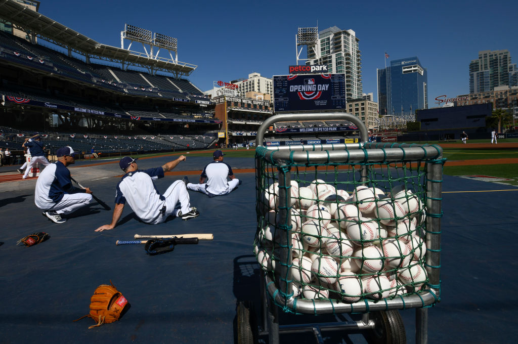 San Diego Padres stretch before Opening Day against the Brewers on March 29, 2018 in San Diego. (Denis Poroy/Getty Images)