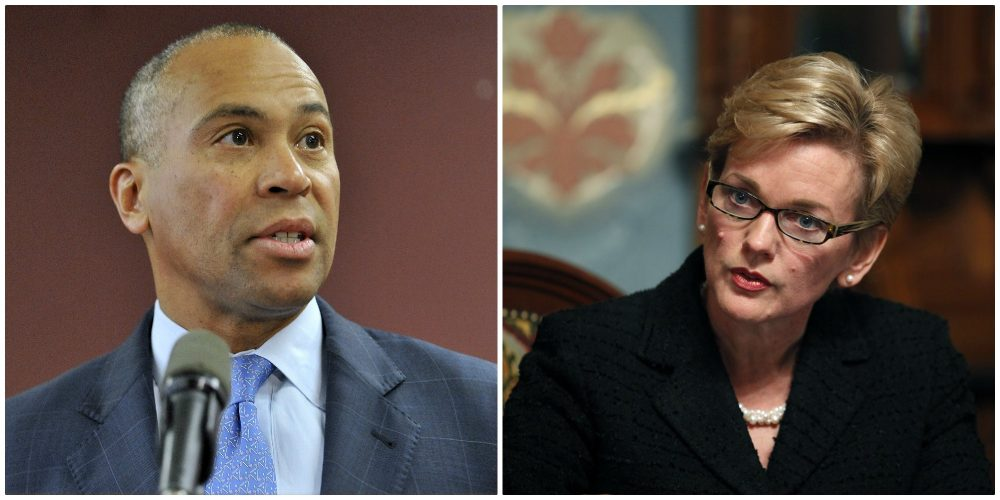 Former Massachusetts Gov. Deval Patrick and former Michigan Gov.  Jennifer Granholm (AP file photos)