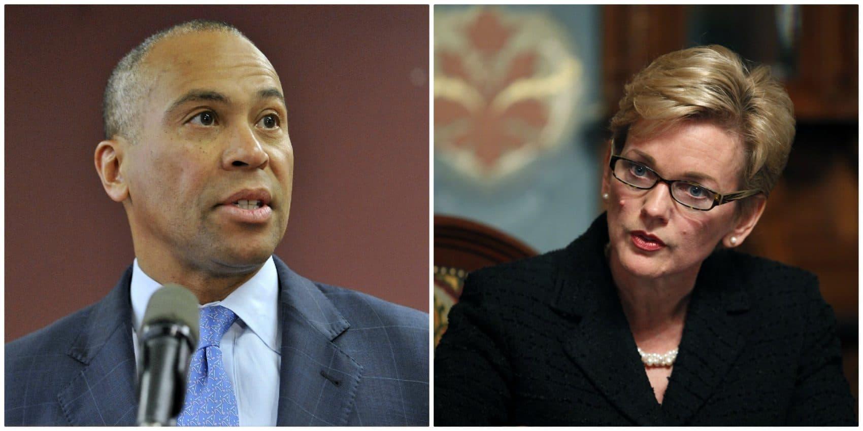 Former Massachusetts Gov. Deval Patrick and former Michigan Gov.  Jennifer Granholm (AP file photos)