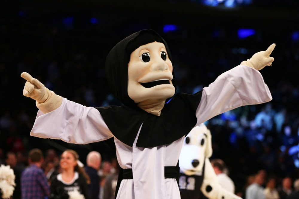"""Providence Friars mascot """"Friar Dom"""" performs during the Big East Basketball Tournament on March 9th. Fortunately for all concerned, he will not be present at the NCAA tournament.  (Mike Stobe/Getty Images)"""