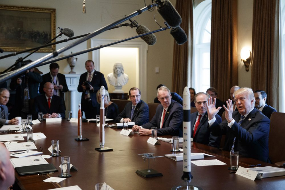 In this March 8, 2018, photo, President Donald Trump speaks during a cabinet meeting at the White House in Washington. Despite grappling with unparalleled staff departures, President Donald Trump painted a rosy picture of a smoothly functioning administration getting things done, pushing along gun restrictions and bringing jobs to the United States. (AP Photo/Evan Vucci)