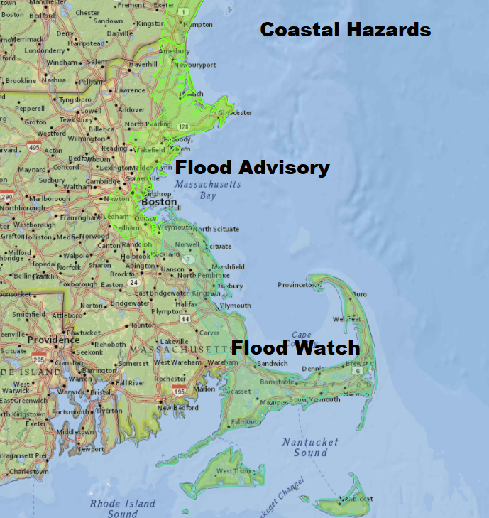 Coastal flooding is an issue in this storm, but won't be severe. (Dave Epstein/WBUR)