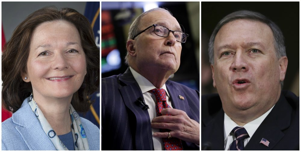 From left: Gina Haspel, Larry Kudlow, Michael Pompeo. (AP)