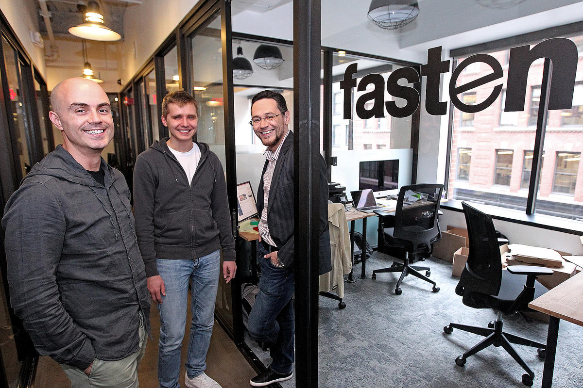 Vlad Christoff , Kirill Evdakov and Roman Levitskiy, co-founders of Fasten, a ride-hailing startup, at their Boston office (Courtesy Matt Stone/Fasten)