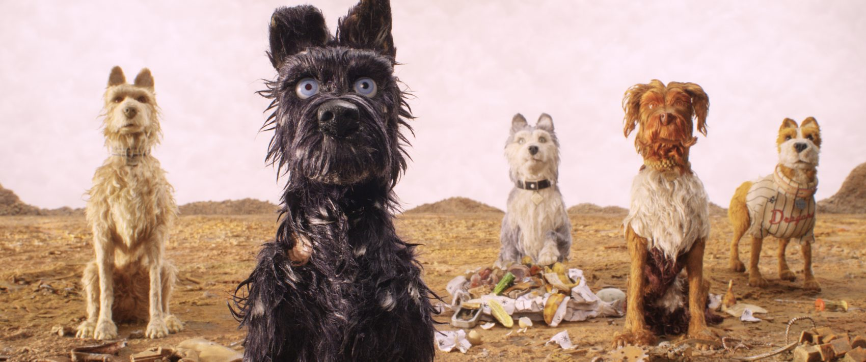 """Left to right, Edward Norton voices Rex, Bryan Cranston voices Chief, Jeff Goldblum voices Duke, Bob Balaban voices King and Bill Murray voices Boss in Wes Anderson's """"Isle of Dogs."""" (Courtesy Fox Searchlight Pictures)"""