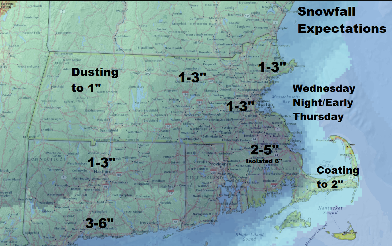 Snow overnight will be heaviest south of Boston. (Dave Epstein/WBUR)