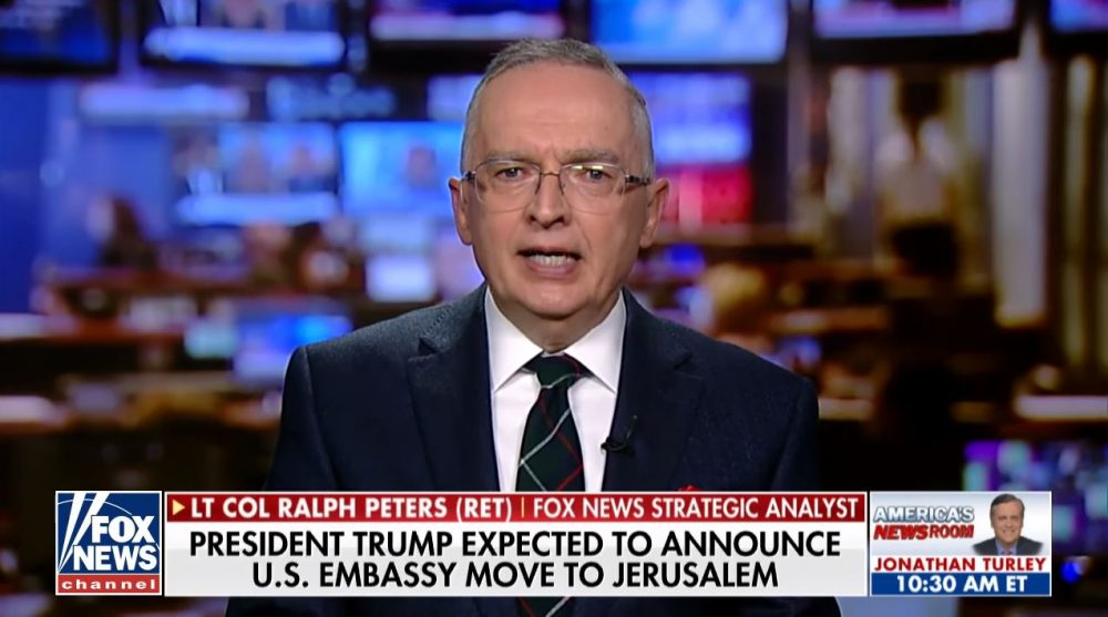 """An """"ashamed"""" Fox News analyst quits, calling the network a """"propaganda machine."""" Has Fox finally become too extreme even for staunch conservatives?  In this screen grab, Ralph Peters appears on Fox News in Dec. 2017. (Youtube/Fox News)"""