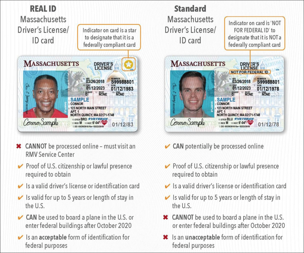 A comparison of a standard license and a REAL ID (Courtesy Mass.gov)
