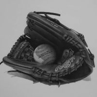 Rawlings baseball glove / 0.1 unipin pen / 594 mm x 841 mm (Redditor krishartas/http://www.krishartas.com.au)