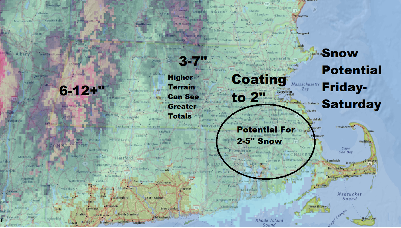Snow will be an issue for some areas later Friday and Friday night. (Dave Epstein/WBUR)